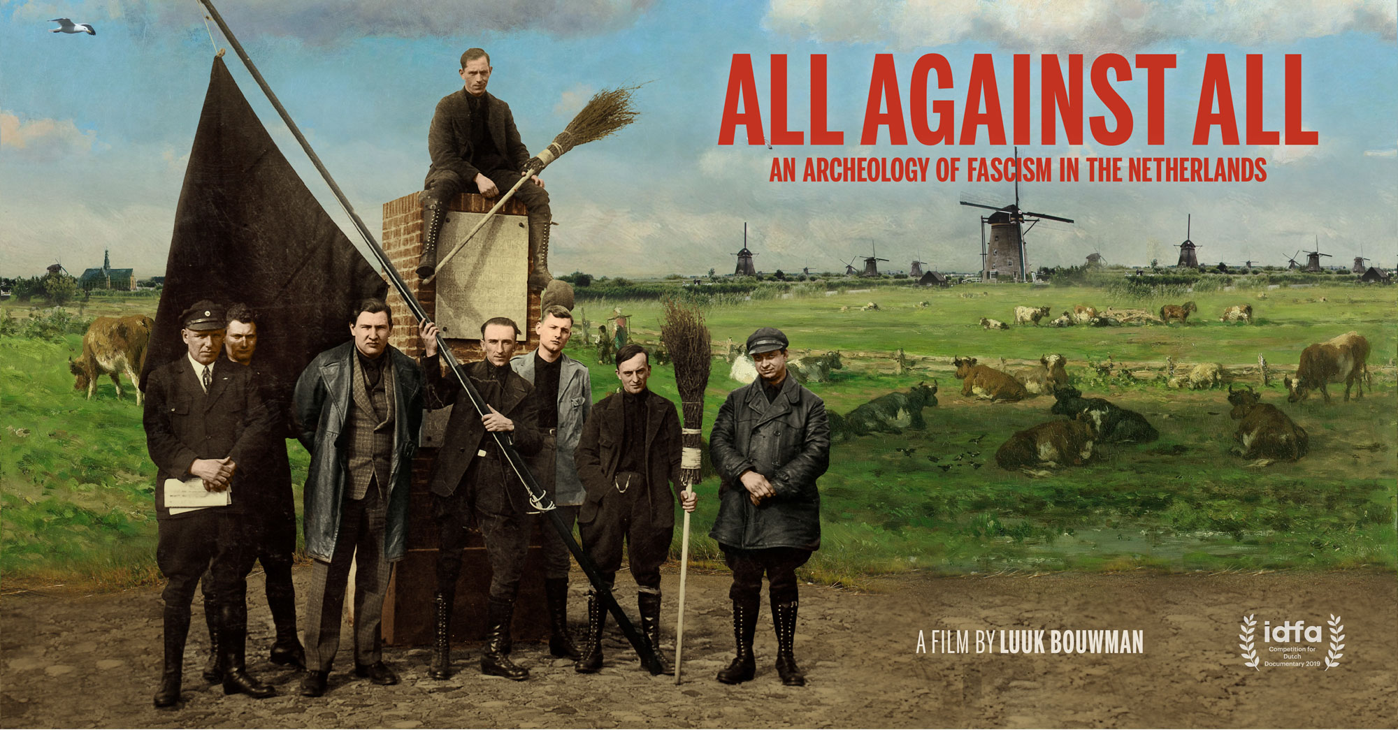 Filmposter of All Against All - members of a fascist organisation situated in a painting of a romantic dutch scene.