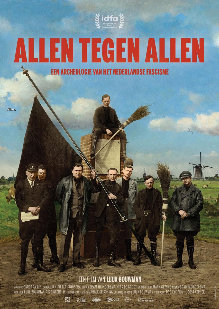 Filmposter van Allen Tegen Allen - We zien leden van een fascistische groepering gesitueerd in een schilderij van een typisch Nederlands landschap